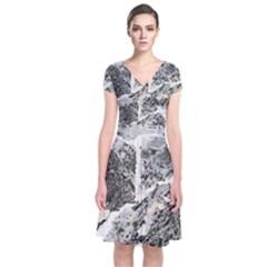 Coquina Shell Limestone Rocks Short Sleeve Front Wrap Dress