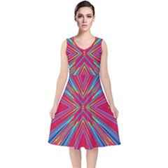 Burst Radiate Glow Vivid Colorful V Neck Midi Sleeveless Dress