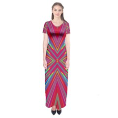 Burst Radiate Glow Vivid Colorful Short Sleeve Maxi Dress