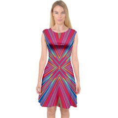 Burst Radiate Glow Vivid Colorful Capsleeve Midi Dress