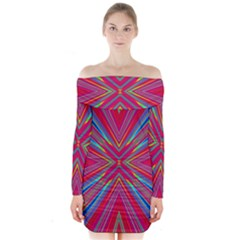 Burst Radiate Glow Vivid Colorful Long Sleeve Off Shoulder Dress