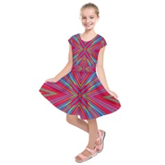 Burst Radiate Glow Vivid Colorful Kids  Short Sleeve Dress