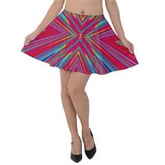 Burst Radiate Glow Vivid Colorful Velvet Skater Skirt