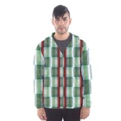 Fabric Textile Texture Green White Hooded Wind Breaker (men)