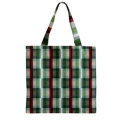 Fabric Textile Texture Green White Zipper Grocery Tote Bag