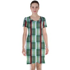 Fabric Textile Texture Green White Short Sleeve Nightdress
