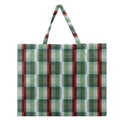 Fabric Textile Texture Green White Zipper Large Tote Bag