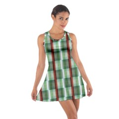 Fabric Textile Texture Green White Cotton Racerback Dress