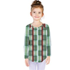 Fabric Textile Texture Green White Kids  Long Sleeve Tee