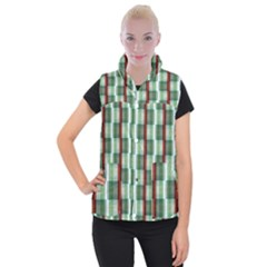 Fabric Textile Texture Green White Women s Button Up Vest