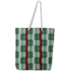 Fabric Textile Texture Green White Full Print Rope Handle Tote (large)