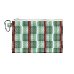 Fabric Textile Texture Green White Canvas Cosmetic Bag (medium) by Nexatart