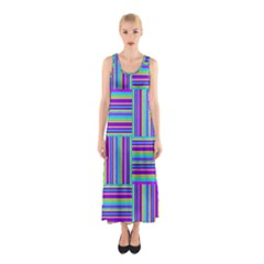 Geometric Textile Texture Surface Sleeveless Maxi Dress