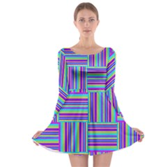 Geometric Textile Texture Surface Long Sleeve Skater Dress