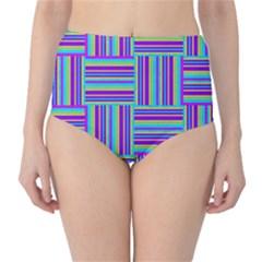 Geometric Textile Texture Surface High Waist Bikini Bottoms