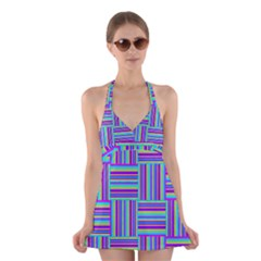 Geometric Textile Texture Surface Halter Dress Swimsuit
