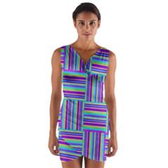 Geometric Textile Texture Surface Wrap Front Bodycon Dress