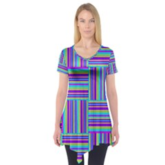 Geometric Textile Texture Surface Short Sleeve Tunic