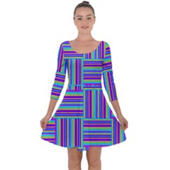 Geometric Textile Texture Surface Quarter Sleeve Skater Dress