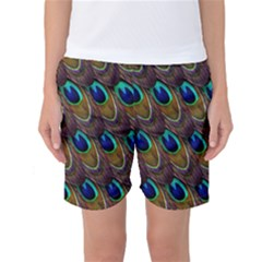 Peacock Feathers Bird Plumage Women s Basketball Shorts