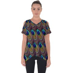 Peacock Feathers Bird Plumage Cut Out Side Drop Tee