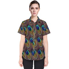 Peacock Feathers Bird Plumage Women s Short Sleeve Shirt