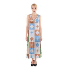Fabric Textile Textures Cubes Sleeveless Maxi Dress