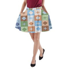 Fabric Textile Textures Cubes A Line Pocket Skirt