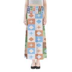 Fabric Textile Textures Cubes Full Length Maxi Skirt