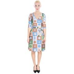Fabric Textile Textures Cubes Wrap Up Cocktail Dress