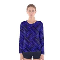 Cobalt Blue Weave Texture Women s Long Sleeve Tee