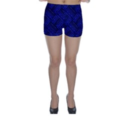 Cobalt Blue Weave Texture Skinny Shorts