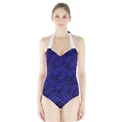 Cobalt Blue Weave Texture Halter Swimsuit