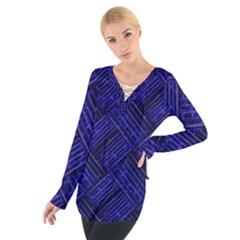 Cobalt Blue Weave Texture Tie Up Tee