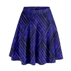 Cobalt Blue Weave Texture High Waist Skirt