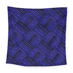 Cobalt Blue Weave Texture Square Tapestry (large)