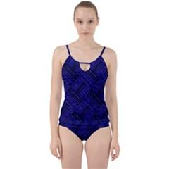 Cobalt Blue Weave Texture Cut Out Top Tankini Set