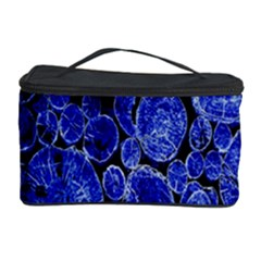 Neon Abstract Cobalt Blue Wood Cosmetic Storage Case