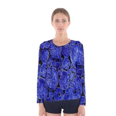 Neon Abstract Cobalt Blue Wood Women s Long Sleeve Tee
