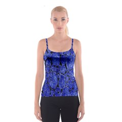 Neon Abstract Cobalt Blue Wood Spaghetti Strap Top