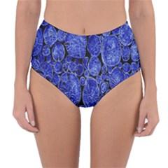 Neon Abstract Cobalt Blue Wood Reversible High Waist Bikini Bottoms
