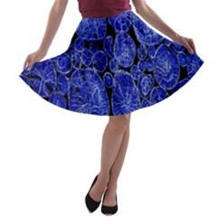 Neon Abstract Cobalt Blue Wood A Line Skater Skirt