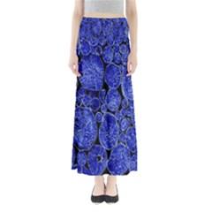 Neon Abstract Cobalt Blue Wood Full Length Maxi Skirt