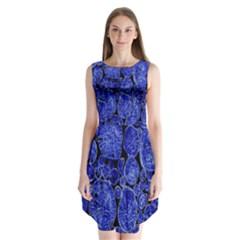 Neon Abstract Cobalt Blue Wood Sleeveless Chiffon Dress