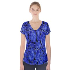 Neon Abstract Cobalt Blue Wood Short Sleeve Front Detail Top