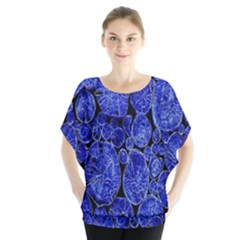 Neon Abstract Cobalt Blue Wood Blouse