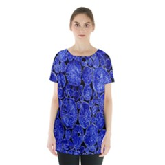Neon Abstract Cobalt Blue Wood Skirt Hem Sports Top by Nexatart