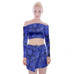 Neon Abstract Cobalt Blue Wood Off Shoulder Top With Mini Skirt Set