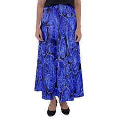 Neon Abstract Cobalt Blue Wood Flared Maxi Skirt