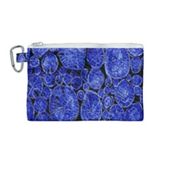 Neon Abstract Cobalt Blue Wood Canvas Cosmetic Bag (medium)